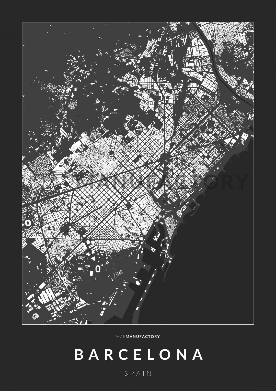 Barcelona épületei poszteren - sötét