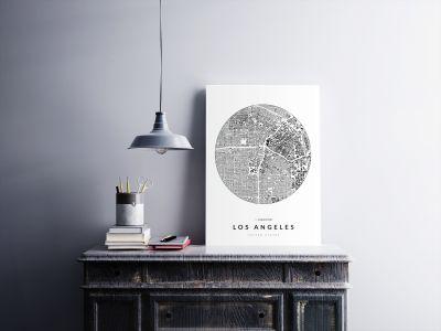 Los Angeles épületei körben poszteren - világos-2
