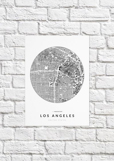 Los Angeles épületei körben poszteren - világos-1