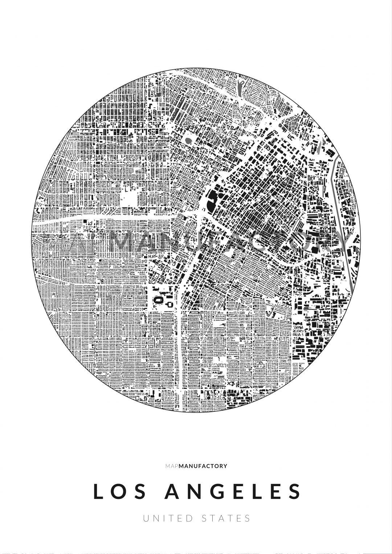 Los Angeles épületei körben poszteren - világos