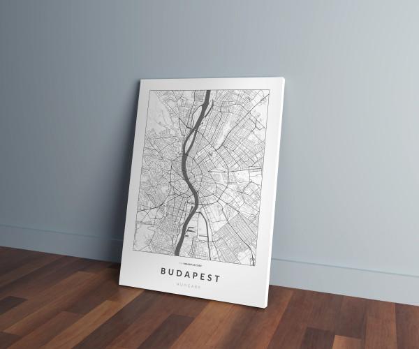Budapest úthálózata vászonképen - világos