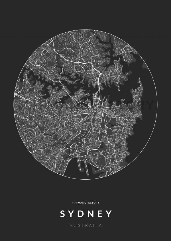 Sydney úthálózata körben poszteren - sötét