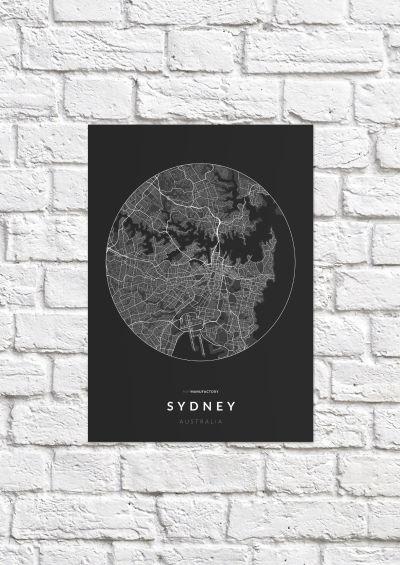 Sydney úthálózata körben poszteren - sötét-1