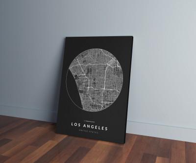 Los Angeles úthálózata körben vászonképen - sötét-0