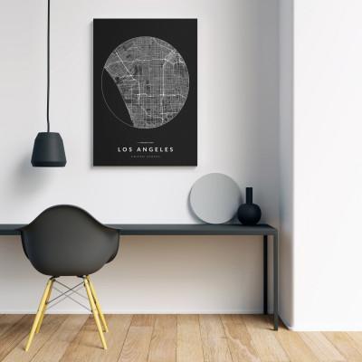 Los Angeles úthálózata körben vászonképen - sötét-1