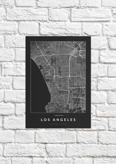 Los Angeles úthálózata poszteren - sötét-1