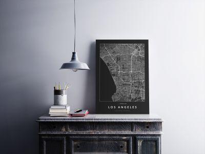 Los Angeles úthálózata poszteren - sötét-2