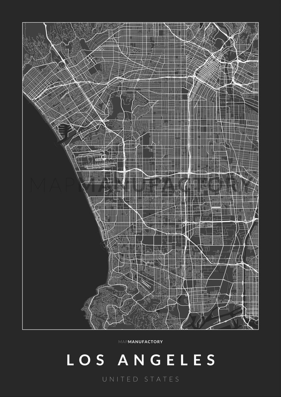 Los Angeles úthálózata poszteren - sötét