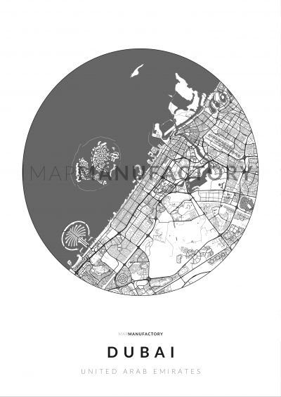 Dubai úthálózata körben poszteren - világos-0