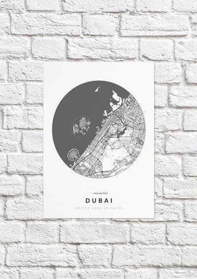 Dubai úthálózata körben poszteren - világos-1