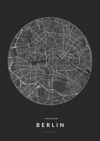 Berlin úthálózata körben poszteren - sötét