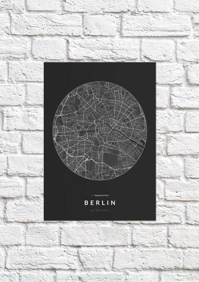 Berlin úthálózata körben poszteren - sötét-1