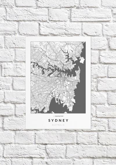 Sydney úthálózata poszteren - világos-1