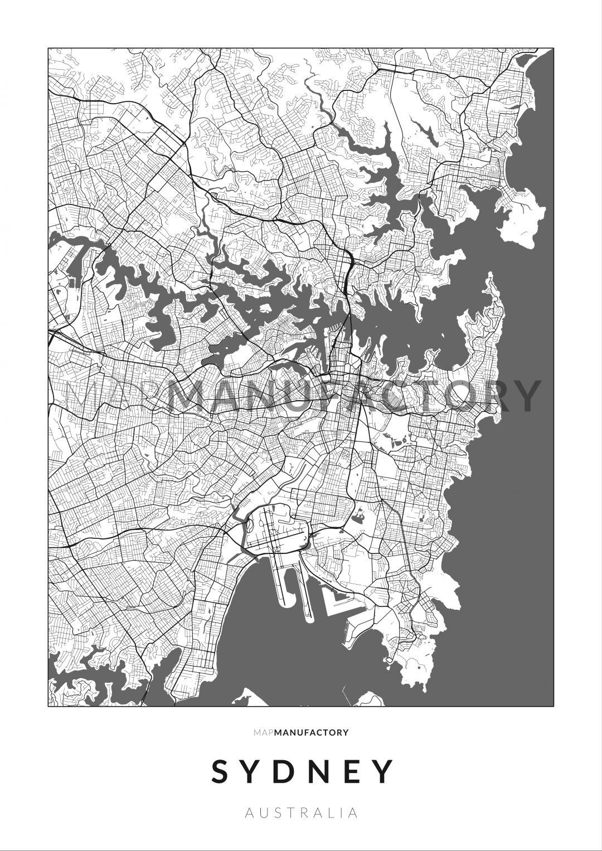 Sydney úthálózata poszteren - világos